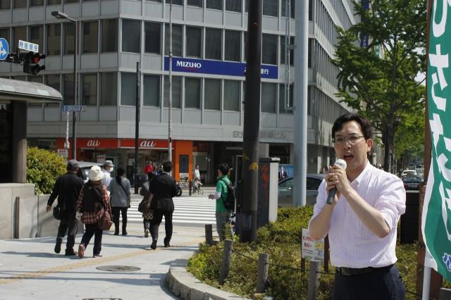 (5月5日、淀屋橋駅前にて)