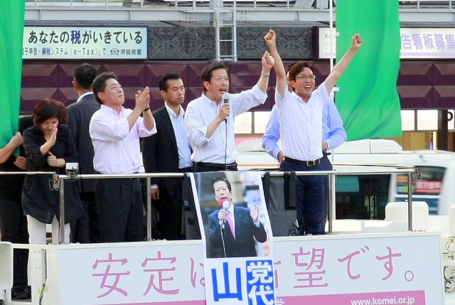 (7月7日、堺東駅前にて)