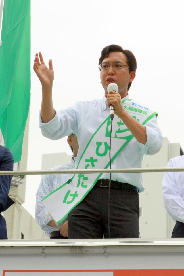 (7月4日、谷六交差点にて)